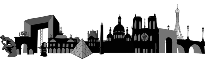 Black and white city skylines 0
