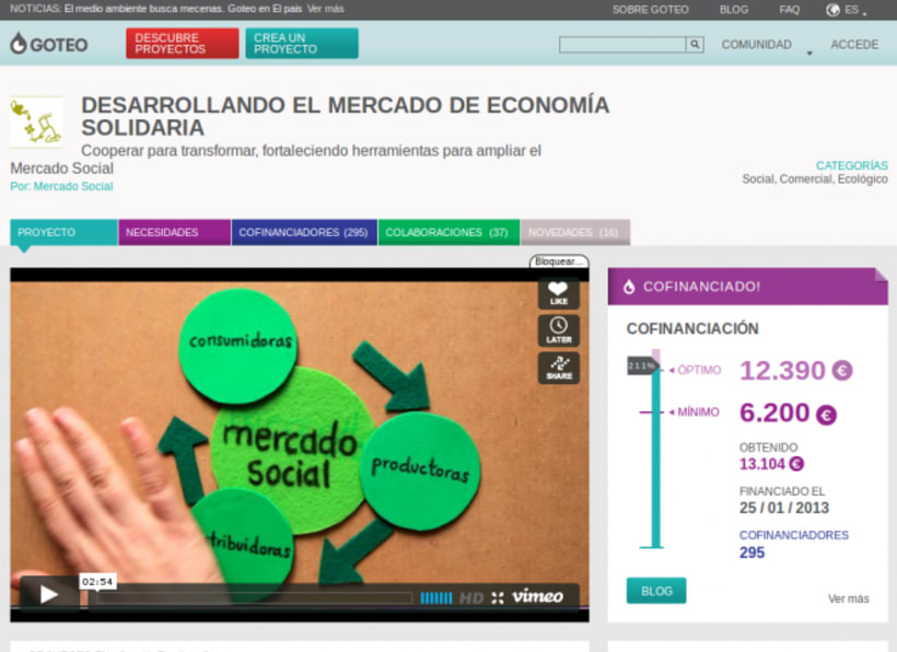 Mercado Social: colaboración  en  la difusión de la campaña de crowdfunding en Goteo 0