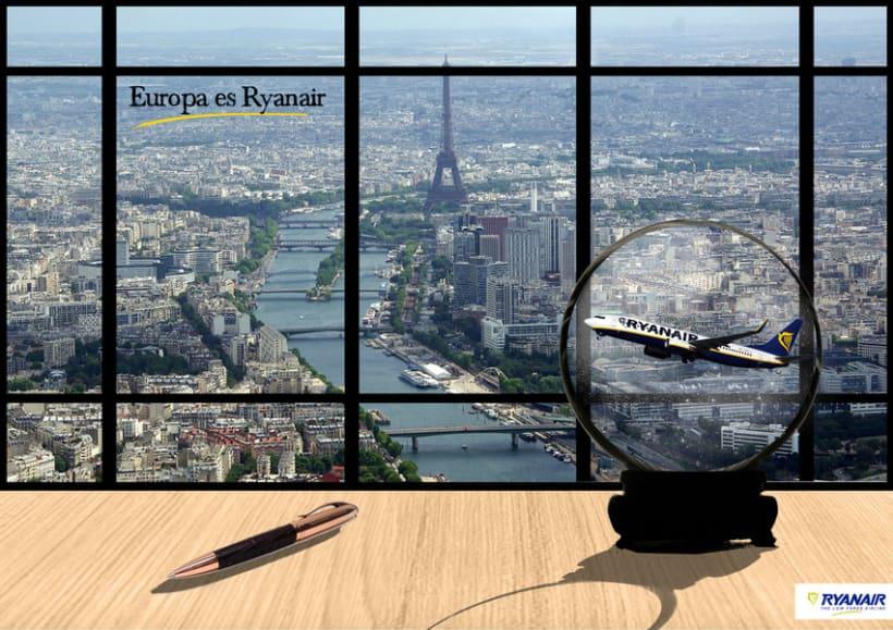 Gráficas y street marketing para Ryanair para promocionar los viajes por Europa con un tono elegante. 0