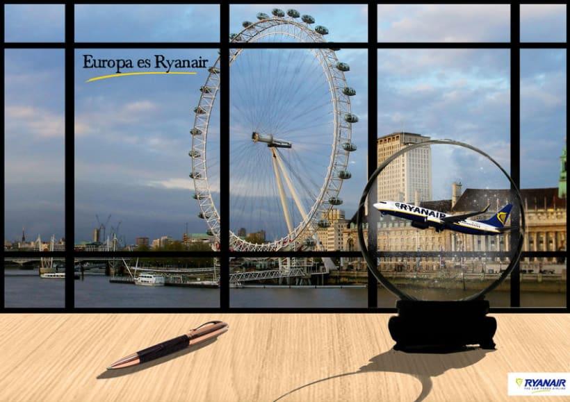 Gráficas y street marketing para Ryanair para promocionar los viajes por Europa con un tono elegante. 1