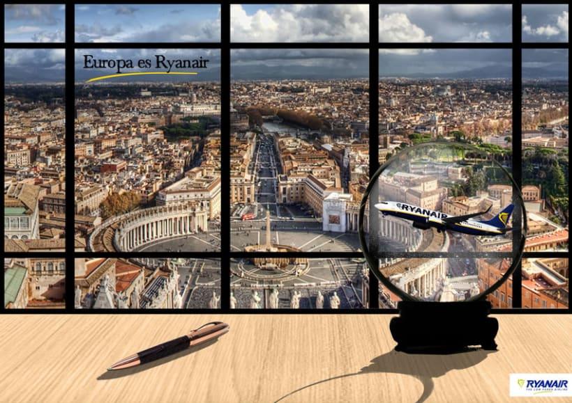 Gráficas y street marketing para Ryanair para promocionar los viajes por Europa con un tono elegante. 2