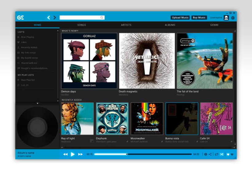 Google Music Player. Concept Design -1