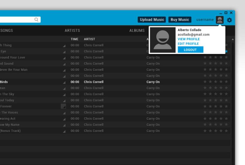 Google Music Player. Concept Design 2