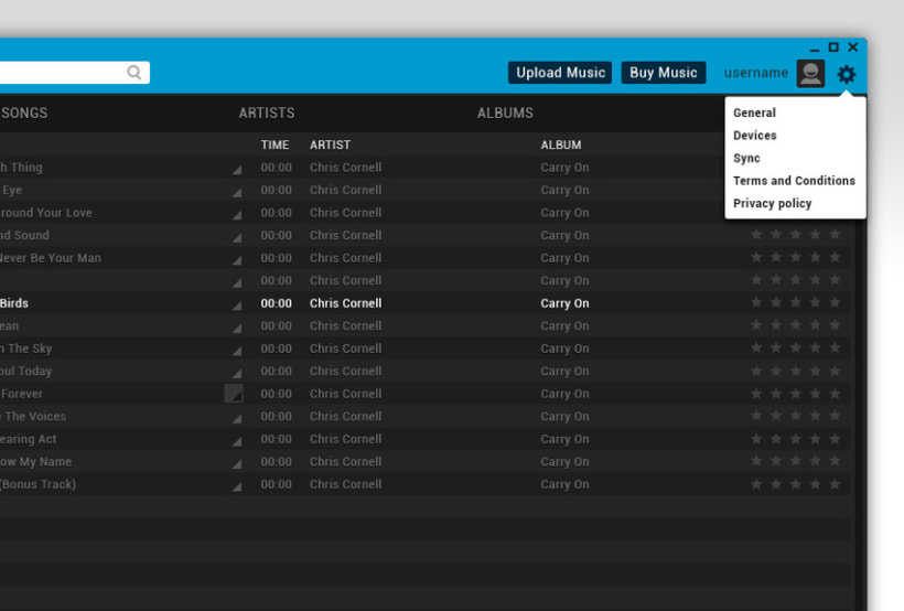 Google Music Player. Concept Design 3