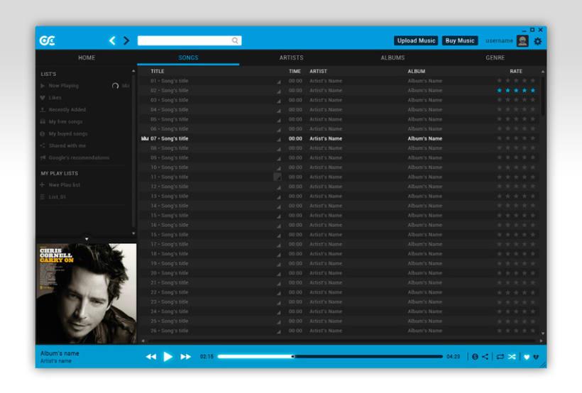 Google Music Player. Concept Design 4