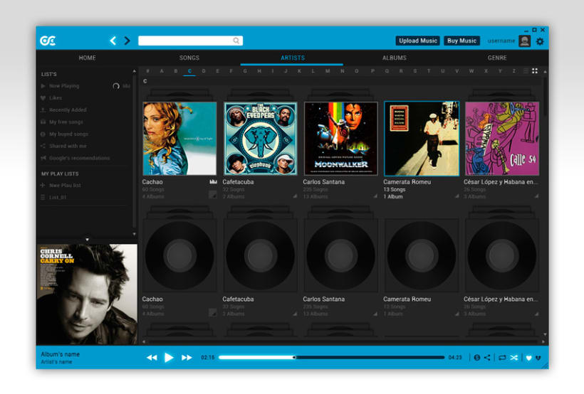 Google Music Player. Concept Design 5