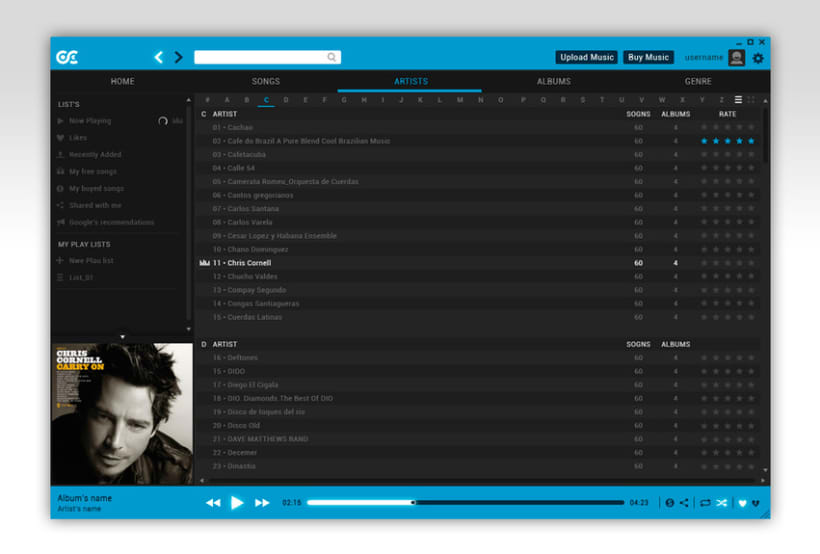 Google Music Player. Concept Design 7