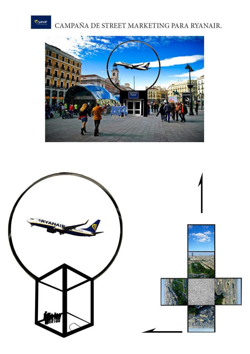 Gráficas y street marketing para Ryanair para promocionar los viajes por Europa con un tono elegante. 3