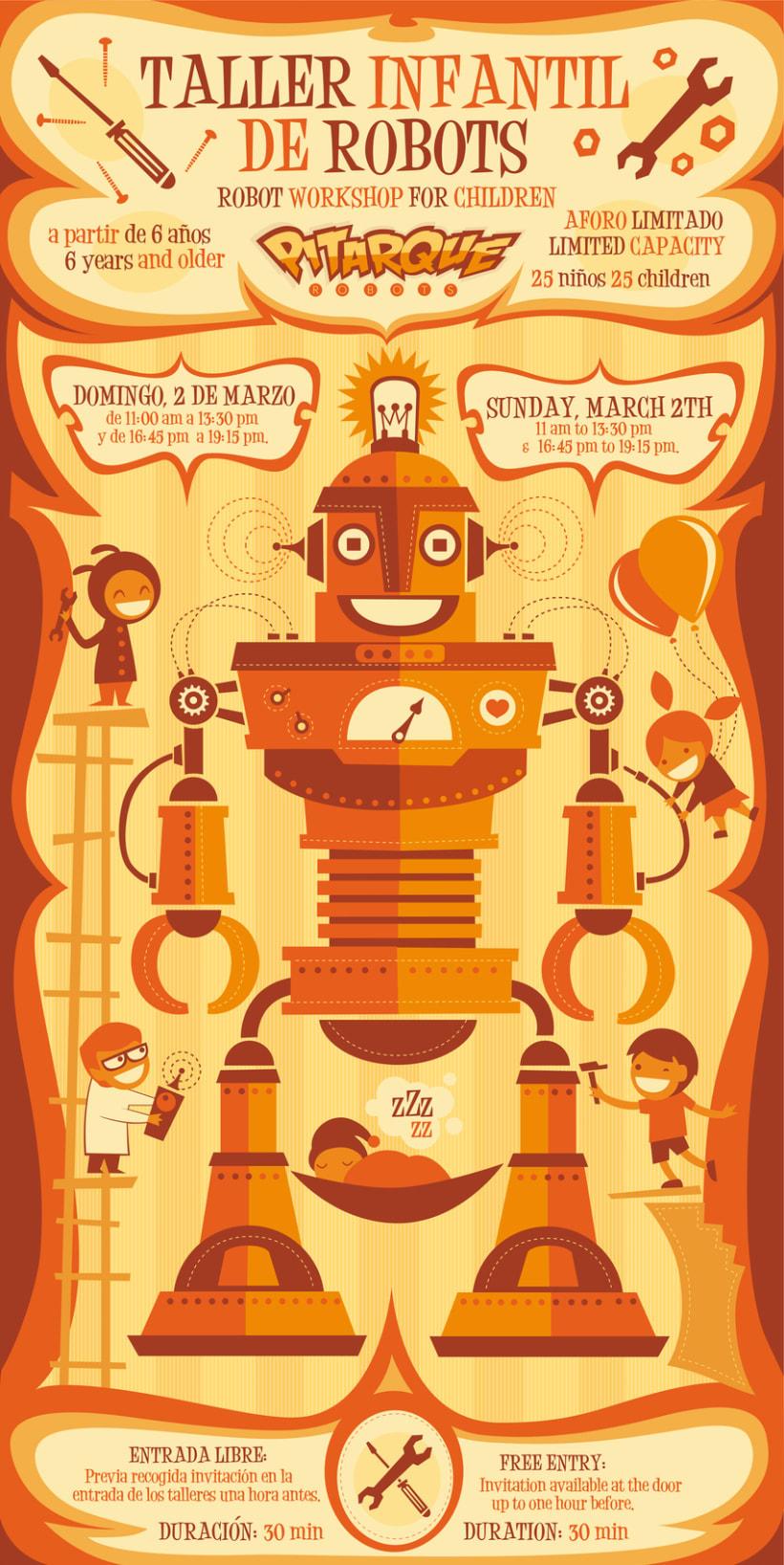 Poster para el Taller Infantil de Robots Pitarque Robots -1
