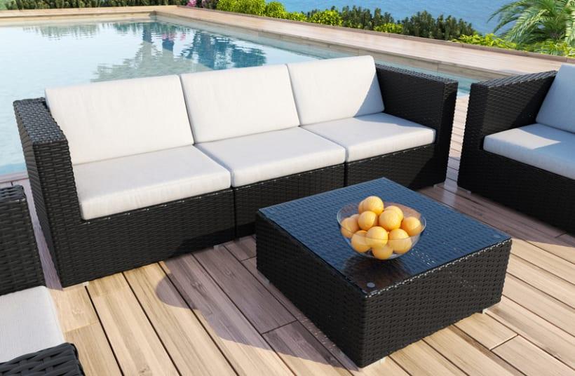 Mimbre i renders 3d sof s jard n exterior domestika for Sofa exterior hipercor