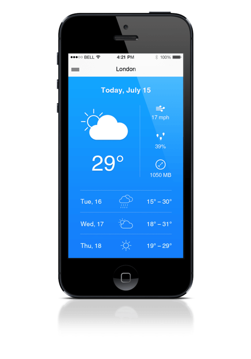 Weather app for iphone domestika for Application iphone temperature interieur