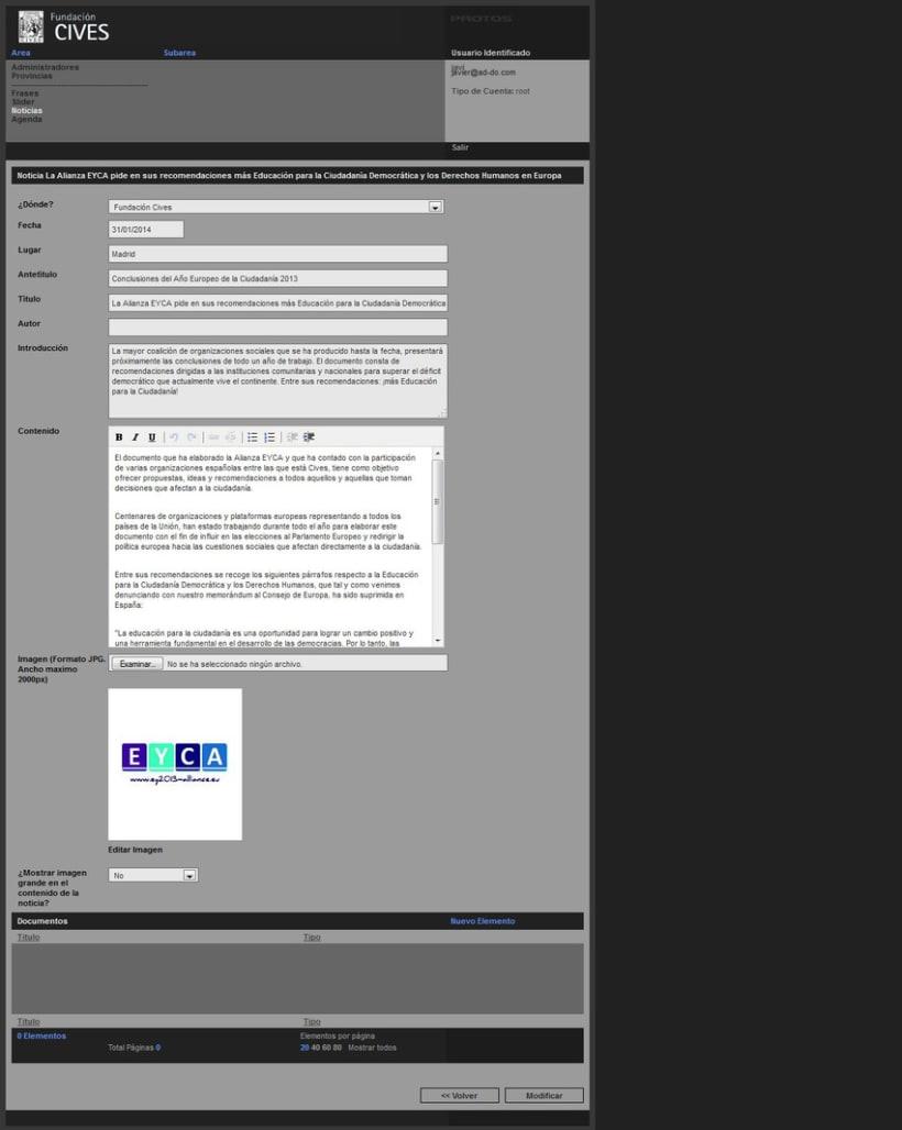 PHP + MySQL + CMS (Gestor de Contenidos) - Fundación CIVES 5