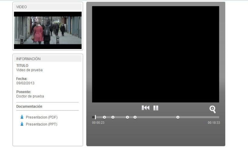 XHTML + Javascript + PHP + MySQL + CMS (Gestor de Contenidos) + Vimeo + Youtube - Sincronización de vídeos y Diapositivas 0