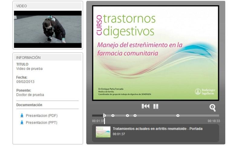 XHTML + Javascript + PHP + MySQL + CMS (Gestor de Contenidos) + Vimeo + Youtube - Sincronización de vídeos y Diapositivas 1