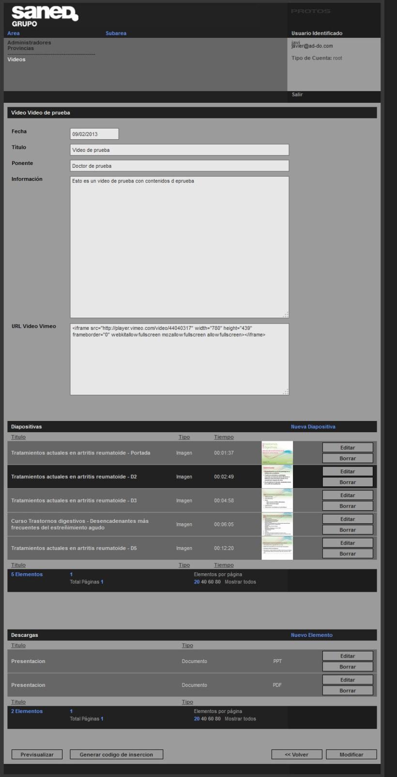 XHTML + Javascript + PHP + MySQL + CMS (Gestor de Contenidos) + Vimeo + Youtube - Sincronización de vídeos y Diapositivas 3