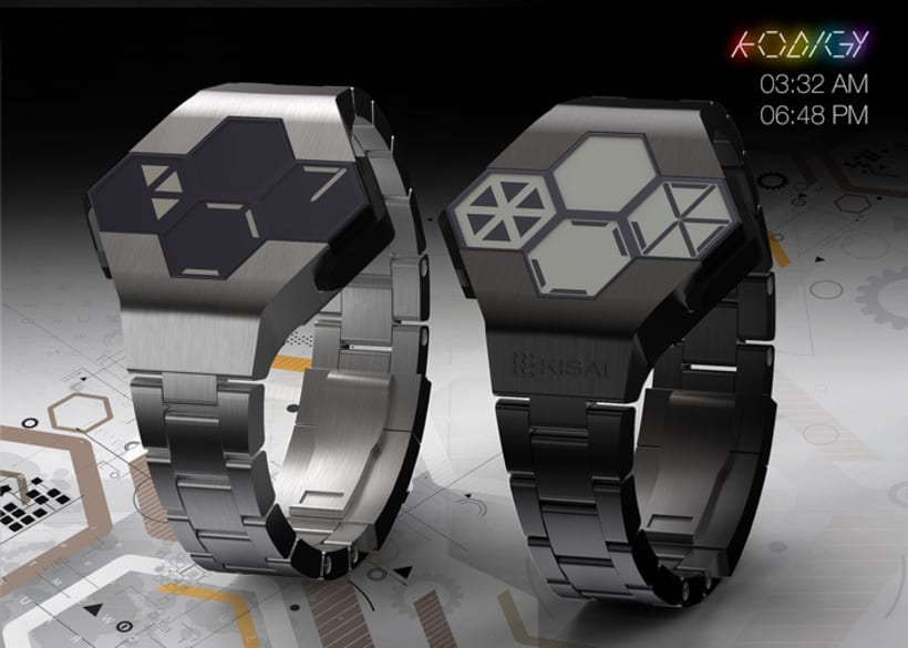 KODIGY. Watch concept design, with secret code 3