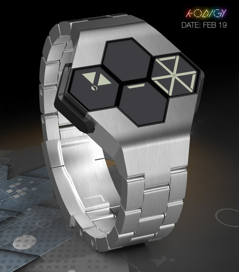 KODIGY. Watch concept design, with secret code 4