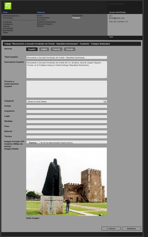 xHTML + CSS + jQuery + PHP + MySQL + CMS (Gestor de Contenidos) - Capa Esculturas 3