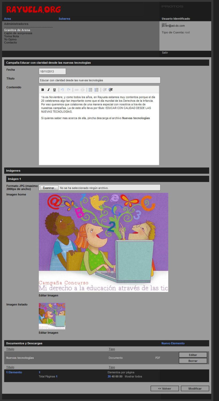 xHTML + CSS + jQuery + PHP + CMS (Gestor de Contenidos) - Rayuela 3