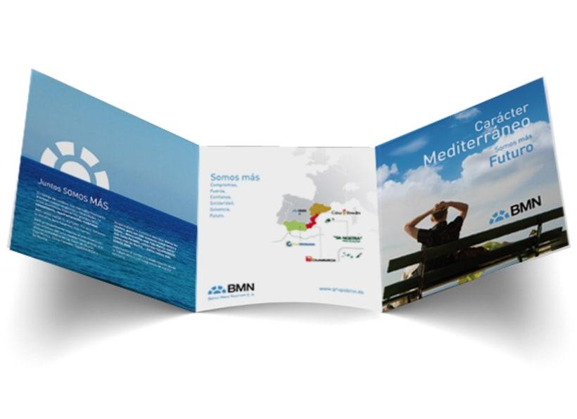 Tríptico Institucional para Campaña de lanzamiento del Banco del Mare Nostrum (BMN) 0