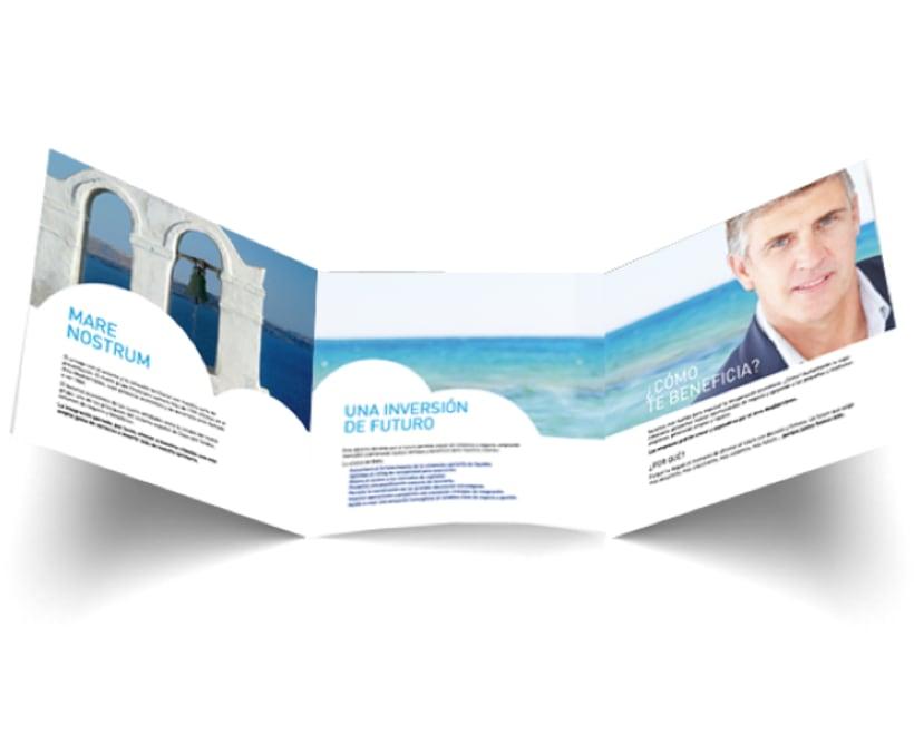 Tríptico Institucional para Campaña de lanzamiento del Banco del Mare Nostrum (BMN) 1