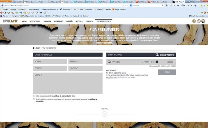 xHTML + CSS + jQuery + PHP + CMS (Gestor de Contenidos) - Incut 3