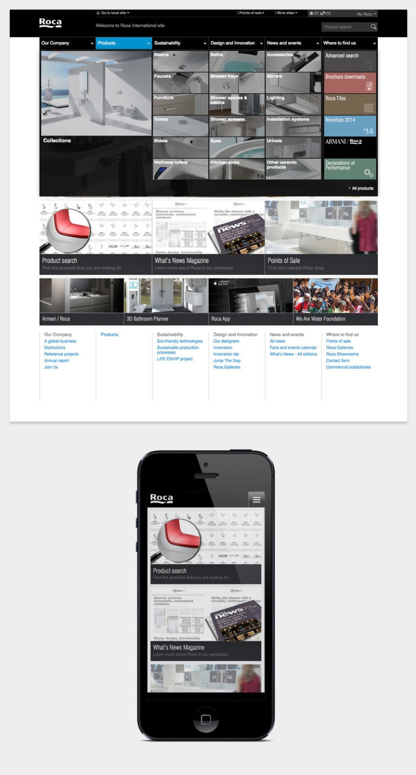 Roca Bathrooms, web internacional 4