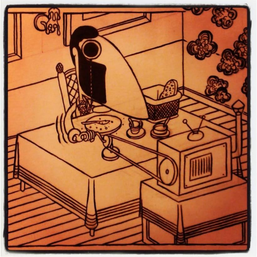Skinny mirando la televisión 0