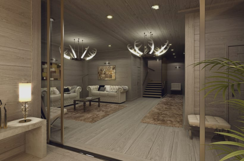 APARTMENT IN SWITZERLAND. Renders 3D Apartamento Interior 2
