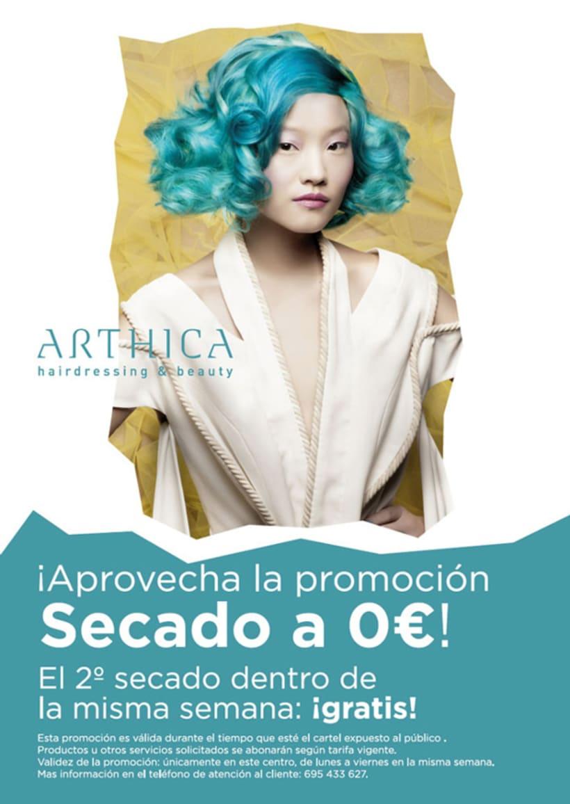 Arthica Hairdressing. Anuncios y cartelería. 1