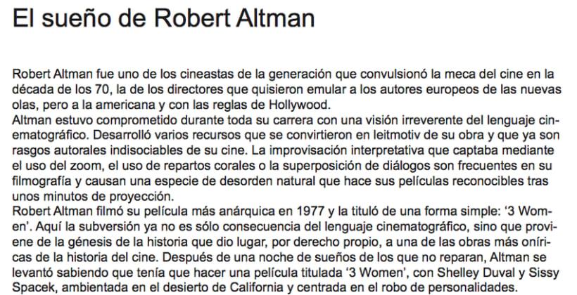 'El sueño de Robert Altman' 0