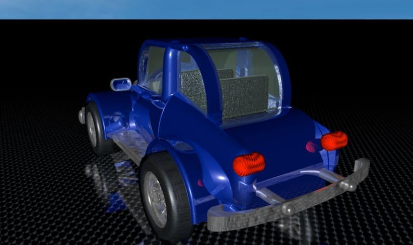 Carro estilo años 60 en 3D 3