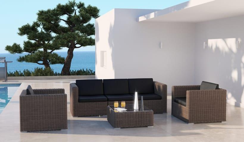 MIMBRE II. Renders 3d Sofás Terraza Exterior 4