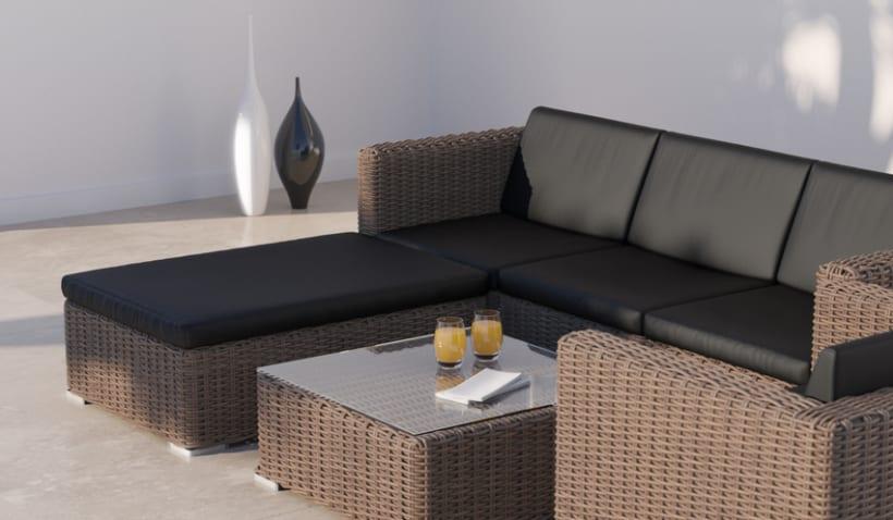 Mimbre ii renders 3d sof s terraza exterior domestika for Sofas terraza baratos