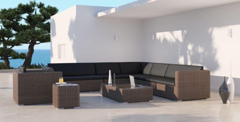 MIMBRE II. Renders 3d Sofás Terraza Exterior 7