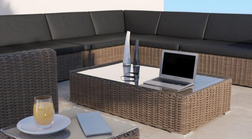 MIMBRE II. Renders 3d Sofás Terraza Exterior 3