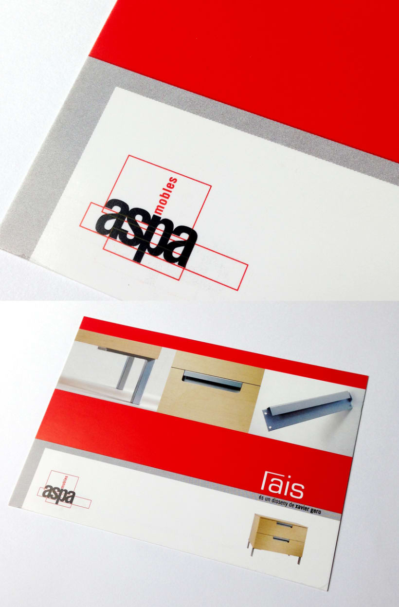 Logotipo Mobles Aspa y postal promocional. -1