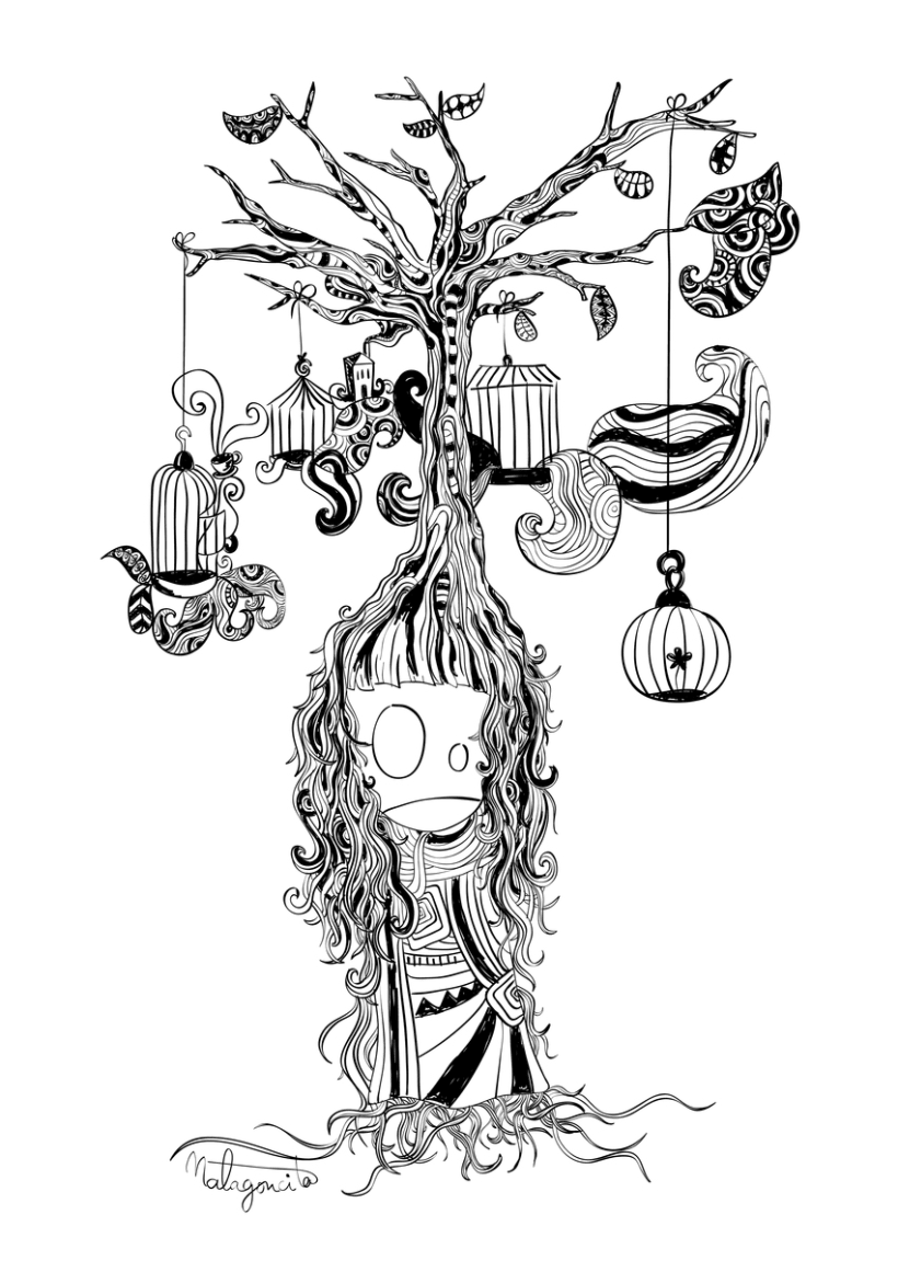 ilustraci n ni a arbol domestika