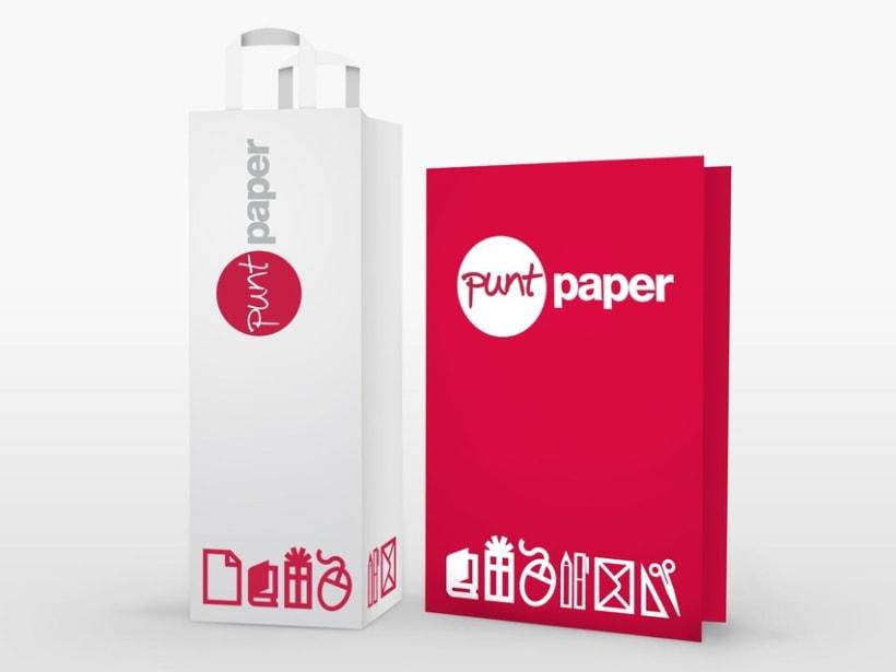 Identidad coorporativa para la papelería Punt Paper.  2