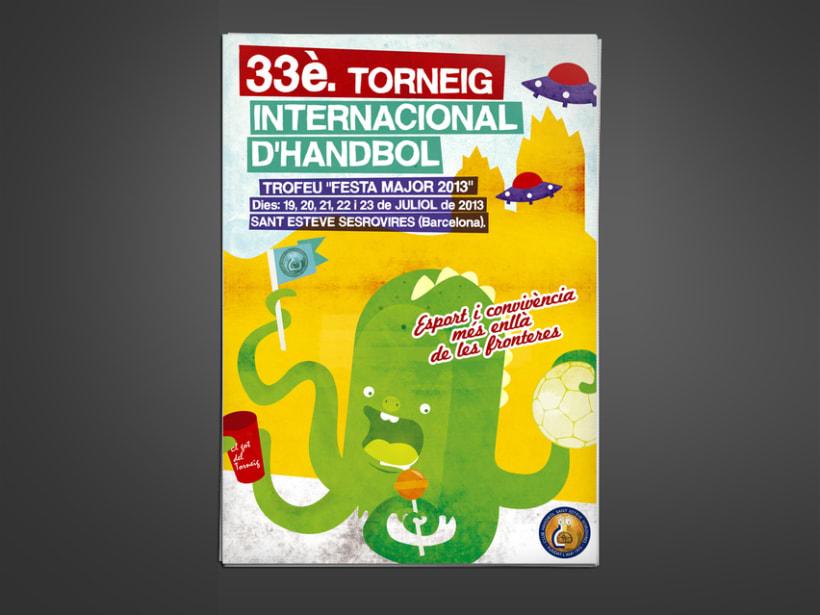 Cartel 33º torneo internacional de balonmano. Ayuntamiento Sant Esteve de Sesrovires. 0