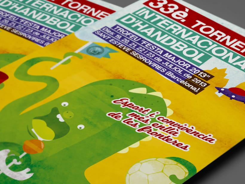 Cartel 33º torneo internacional de balonmano. Ayuntamiento Sant Esteve de Sesrovires. 1