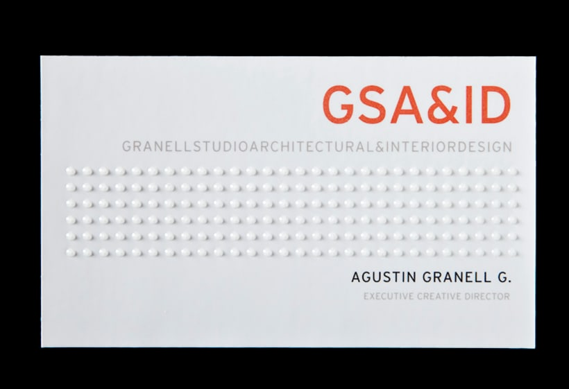 Tarjetas de visita para GSA&ID. Acabado barniz braille. 2