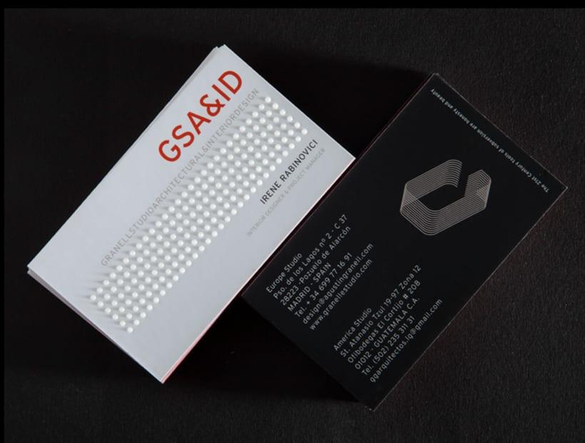 Tarjetas de visita para GSA&ID. Acabado barniz braille. 3