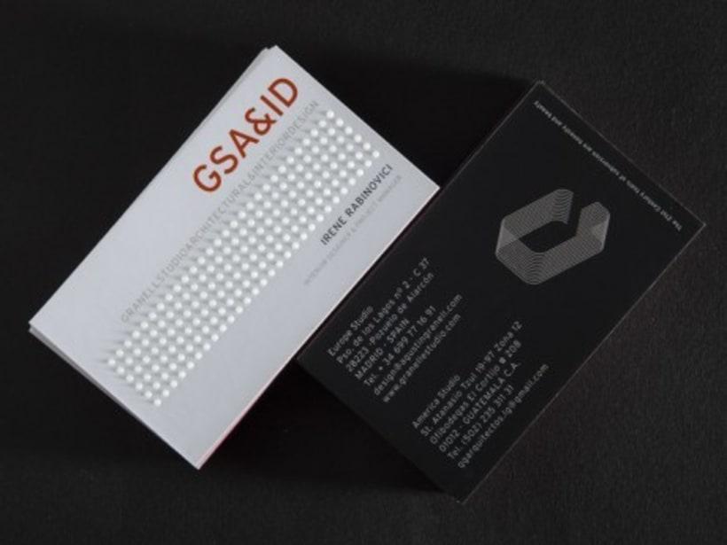 Tarjetas de visita para GSA&ID. Acabado barniz braille. 5