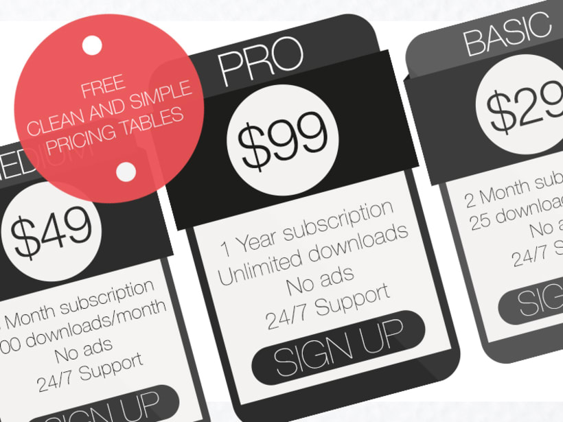 Free Clean and Simple Pricing Tables (PSD) 0