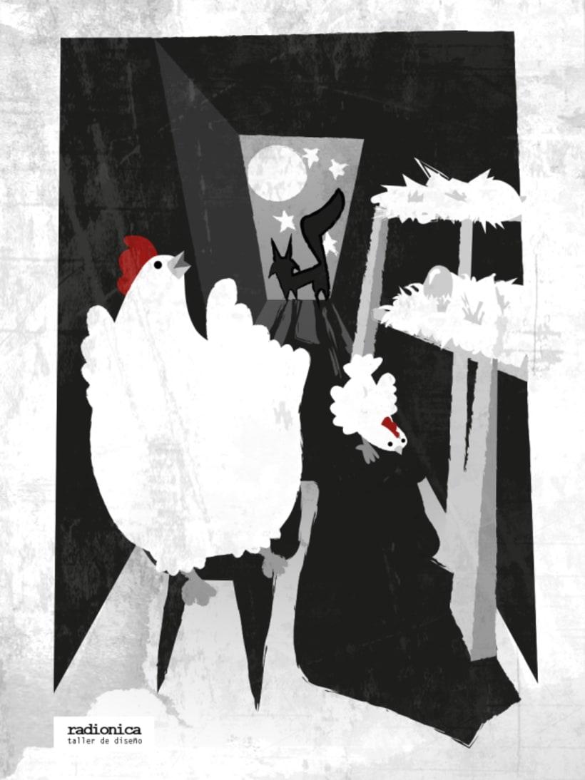 Ilustración las gallinas y el zorro. -1