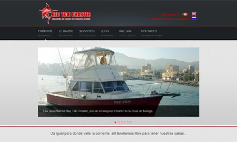 Desarrollo web para Red Tide Charter de pesca en Puerto Banús -1