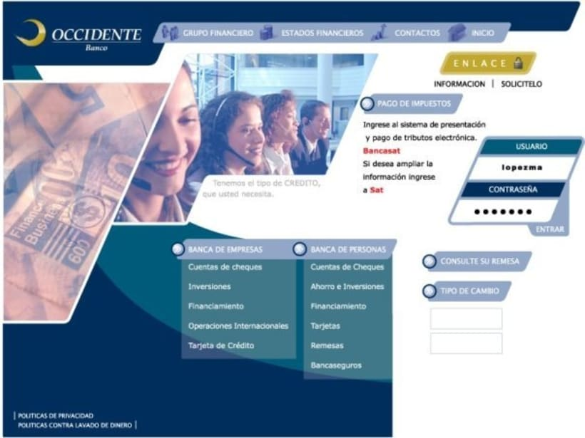 Company Banco de Occidente: Web image and design -1