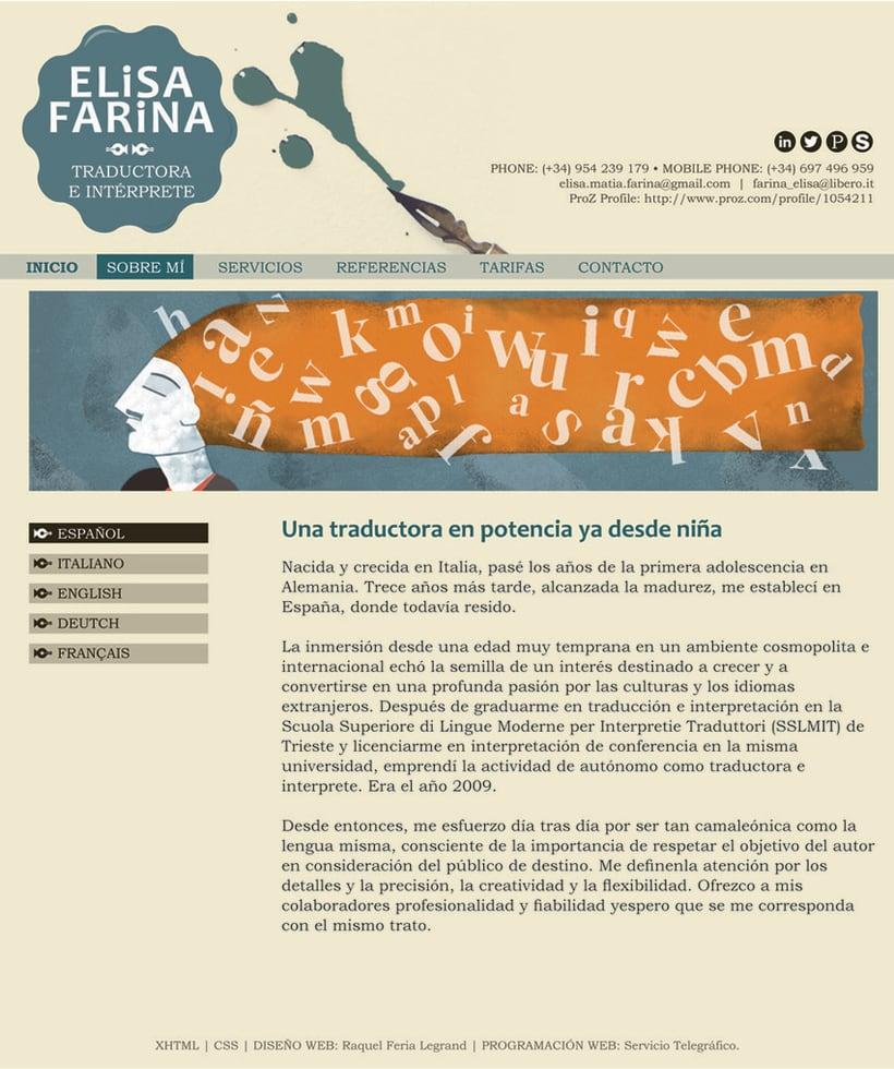 Web Elisa Farina. Elaboración de logotipo, diseño de páginas e ilustraciones. 0