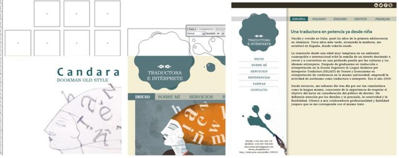 Web Elisa Farina. Elaboración de logotipo, diseño de páginas e ilustraciones. 1
